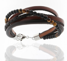 Storch Schmuck Men's Bracelet Genuine Leather Brown Onyx Tiger Eye Germany