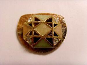 vintage artisan double cross star of Ishtar vintage rhinestones brooch sca 46778