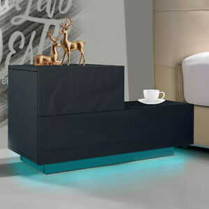 High Gloss Bedside Table Cabinet Chest of 2 Drawers Nightstand LED Light Bedroom