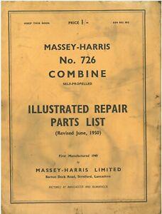 Massey Harris Combine 726 Parts Manual - ORIGINAL MANUAL