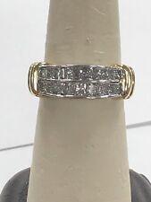 Gorgeous ZALES 14K White & Yellow Gold 2 Row Princess Cut 2 CT Diamond Ring Band