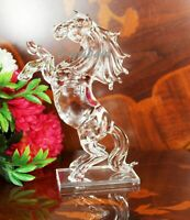 Crystal Cut Clear Horse Statue Figure For Home Decor Birthday X-Mas Gift Box