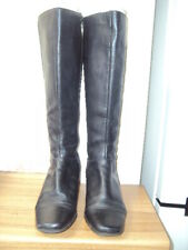 CLARKS BLACK LEATHER KNEE-HIGH BOOTS, SIZE 6