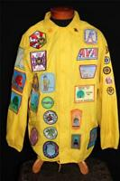 VINTAGE 1980'S MISSOURI OUTDOOR YELLOW NYLON MULTI-PATCH JACKET SIZE X-LARGE