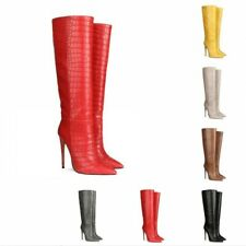 Runway Women Stone Pattern Knee High Thigh Boots Pointy Toe High Heel Shoes L