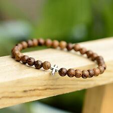 Hematite Magnetic Bracelet 6mm Wood Stone Cross Bracelets Men's Women Bracelets