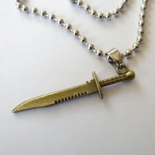 Men's necklace 19.68 in. knife, dagger pendant polished and bronzed steel  220 U