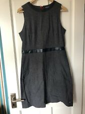 TOMMY HILFIGER Size 10 Formal Shift Dress, Textured Navy with Faux Leather Trims