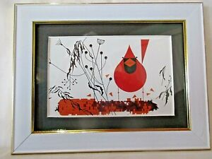 "Cardinal on Corn by Charley Harper Framed 5"" X 7"" Card Print White w/Gold Frame"