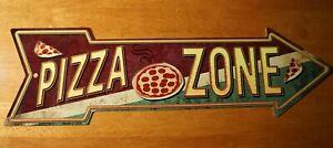 PIZZA ZONE ARROW SIGN Pub Bar Snack Stand Room Sign Italian Restaurant Decor NEW