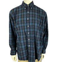 Ralph Lauren Mens shirt Large Green Blue Plaid Button Front Long Sleeve
