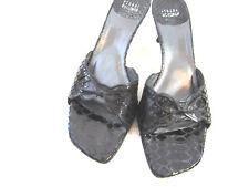 STUART WEITZMAN Black Snakeskin Sandals w/ Kitten Heel  Beautiful Bow  8.5N