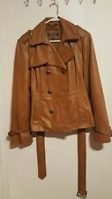 EUC Ladies GUESS Soft Leather Jacket Coat Light Brown Belt Tie Peacoat size XL