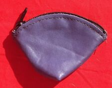 """New Large Leather Sonoma Zippered Handmade Full-Grain Leather Coin Pouch 3"""" blue"""