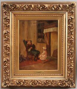 c1900 Antique CIRO COZZOLINO Italian Genre Oil Painting, Grandfather & Accordion