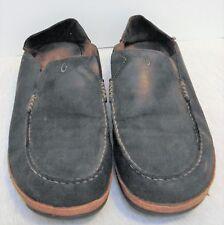 Mens OLUKAI MOLOA Distressed Black Leather Loafers Shoes Size? Look like 12-12.5