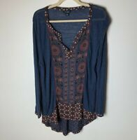 Lucky Brand Women's Tunic Top Size XL Hi Low Long Sleeves V-Neck Casual Linen