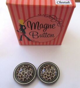 Magnetic Buttons -set of 2- CHEETAH PRINT round- brown use on scarf hat purse