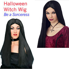 Witch Costume Wig Accessory Adult Women's Morticia Halloween Gothic Black Hair