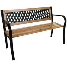 3 SEATER GARDEN BENCH OUTDOOR PATIO FURNITURE WOODEN SLATS METAL LEGS LATTICE