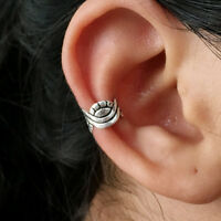 925 Sterling Silver Braided Ear cuff Earring No Piercing Clip on Adjustable NEW