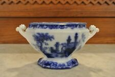 Antique Flow Blue, Staffordshire Pottery  'Athens' Small Tureen with No Lid