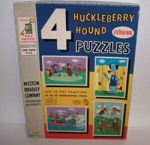 Huckleberry Hound Extra Big 4 Puzzles 20 to 40 Interlocking Pieces MB 1960