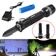 Rechargeable Tactical Flashlight Knife Self Defense Multifunctional Torch Tool