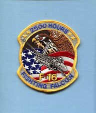 GENERAL DYNAMICS F-16 FALCON 2500 FLIGHT HOURS USAF Fighter Squadron Patch