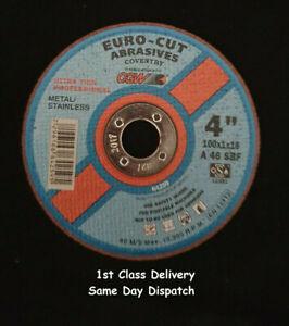 5 x EURO-CUT Steel Metal Extra Thin Cutting Discs 4'' 4inch 100mm x 16mm x 1mm