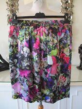 MARC CAIN Black Multicoloured Floral Silk Short Skirt with Pockets N3 12