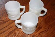 3 Mugs Johnny Hart BC Comics  White Milk Glass GROG Coffee Cup Mugs Set of 3