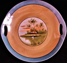 "Decorative Peach Plate of Far East Scene, Swan on Lake, Red Roof House 9"" Diam."