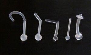 Flexible Bioflex Clear Invisible Hidden Nose Stud Ring Bar Transparent Retainer