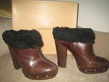 **CARVELA** Designer Brown Leather Heeled Boots Mules + Black Fur UK6 + Box