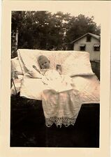 Vintage Antique Photograph Gorgeous Baby Laying in Chair in Yard