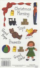 CHRISTMAS TOYS PRESENTS E-Z RUB ON TRANSFERS ACID FREE CARD MAKING HAN372 xx