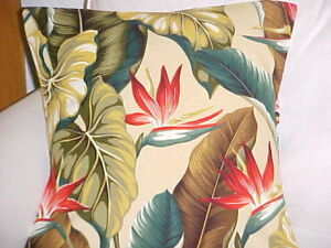 Tropical Hawaiian 100% Cotton Barkcloth Fabric Pillow SLIPCOVER ~Bird/Paradise~
