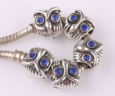 5pcs retro owl Czech big hole spacer beads fit Charm European Bracelet AA533