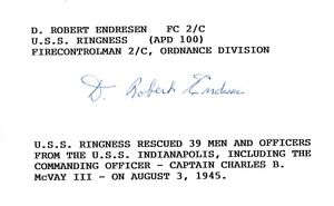 Robert Endresen Signed Index Card BAS E57263 WWII USS Ringness APD-100
