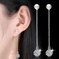 Drop Long Earrings Women Fashion Jewelry Real 925 Silver Pearl Crystal Pendant