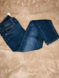 Justice Youth Girl Medium Wash Distressed Denim Jeggings Mid Rise Cut Size 10