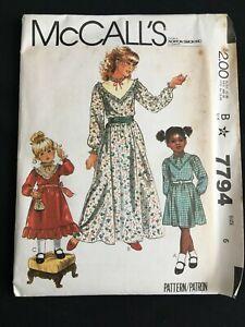 VTG 1980s McCalls 7794 Girls Dress Sz 6 Yoke Prairie Victorian Modest Long Short