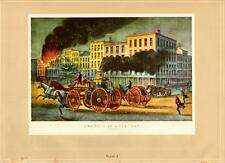 Currier And Ives: Life-Fireman/Fire Wagon/Horses- 1942 Vtg Bookplate Art Print