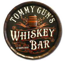 Whiskey Bar Personalized Quarter Barrel Wood Sign, Great for Man Cave, Bar, Oak