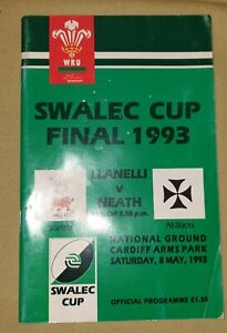 Vintage Programme Welsh Rugby, Swalec Cup, Llanelli v Neath, 1993, Cardiff A. P.
