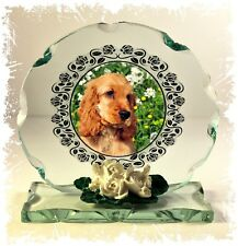 More details for golden cocker spaniel dog collectable crystal cut glass plaque gift #8