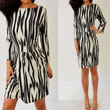 MNG By MANGO Black Gray Beige 3/4 Sleeve Sheath Dress 10 M Medium NWT