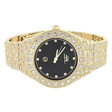Gold Tone Watch Techno Pave Black Dial Analog Solitaire Simulated Diamonds 43mm