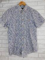 The Academy Brand Men's button front shirt Blue, white print Short sleeve Sz M